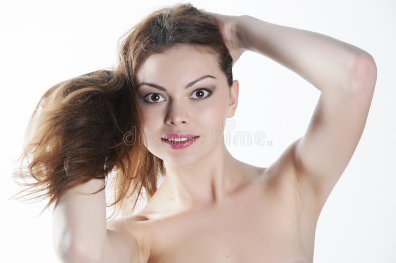barn för skönhetframsidakvinna royaltyfria bilder