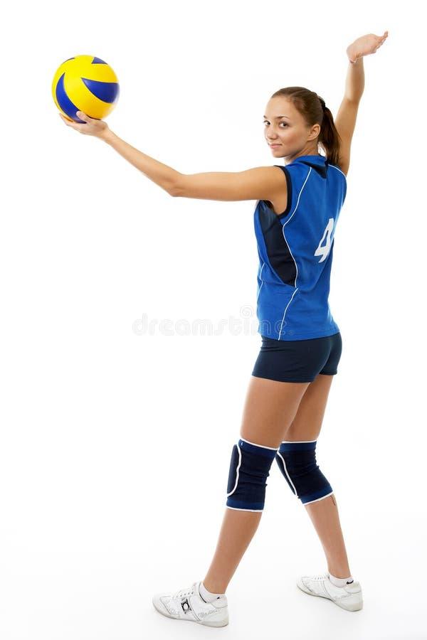 barn för skönhetspelarevolleyboll fotografering för bildbyråer