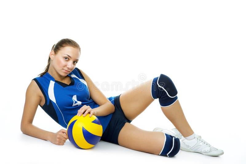 barn för skönhetspelarevolleyboll royaltyfria foton