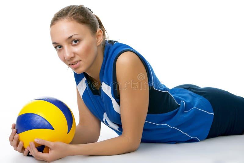 barn för skönhetspelarevolleyboll royaltyfri fotografi