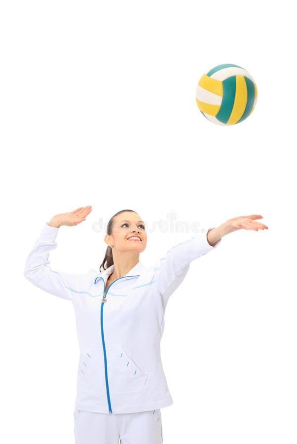 barn för skönhetspelarevolleyboll arkivfoto