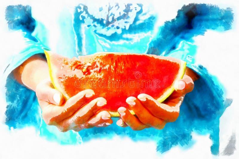 barn för skivavattenmelonkvinna Aqarell stock illustrationer