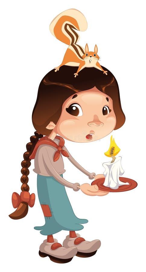barn för stearinljusflickaekorre stock illustrationer