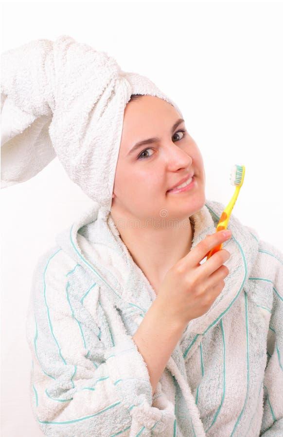 barn för tand för borsteflicka nätt arkivfoton