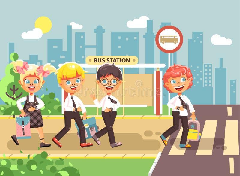 Barn för tecken för vektorillustrationtecknad film, klasskompisar för efterlevnadtrafikregler, pojke- och flickaskolbarngår till stock illustrationer