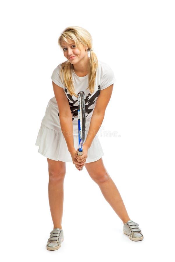 barn för tennis för flickaholdingracket tonårs- arkivbild