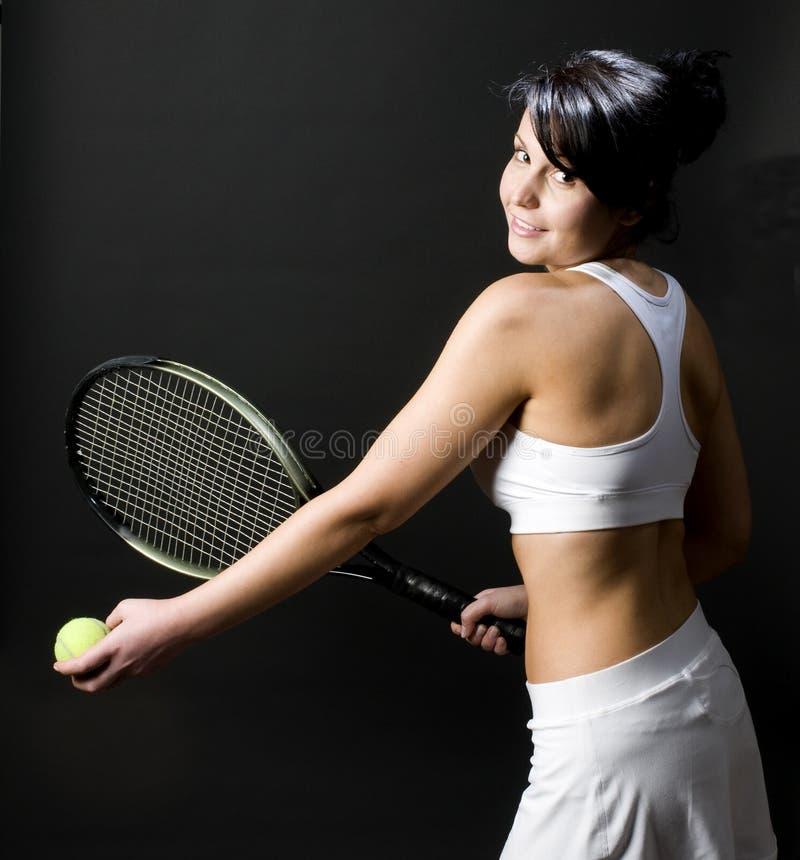 barn för tennis för kvinnligspelare sexigt royaltyfri fotografi