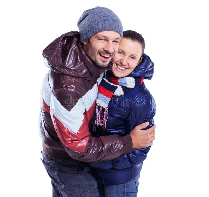 barn för vinter för kläderparpåklädd arkivfoton