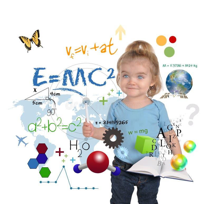 barn för writing för vetenskap för snilleflickamath royaltyfria bilder