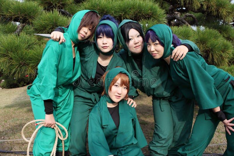 barn för ninja för cosplayerskvinnlig japanskt royaltyfria foton
