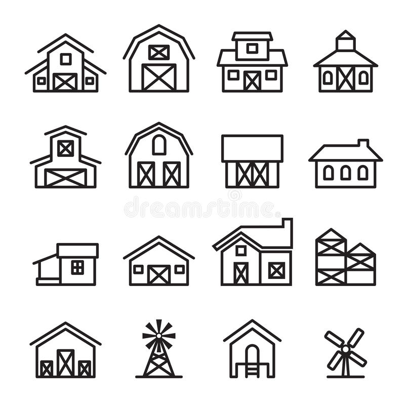 Barn & farm building icon in thin line style royalty free illustration