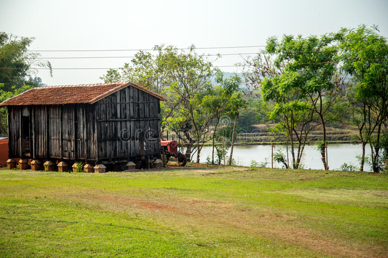 Barn farm old rural. Rustic wood architecture royalty free stock image