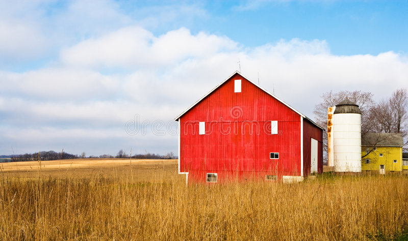 Barn And Field stock photo