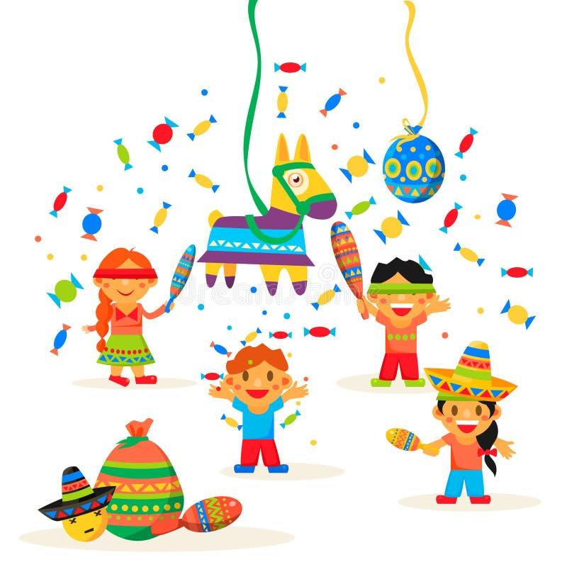 Barn firar Posada som bryter royaltyfri illustrationer