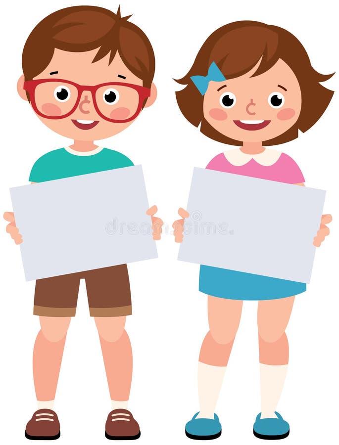 Barn flicka och pojke som rymmer ett tomt teckenpapper vektor illustrationer