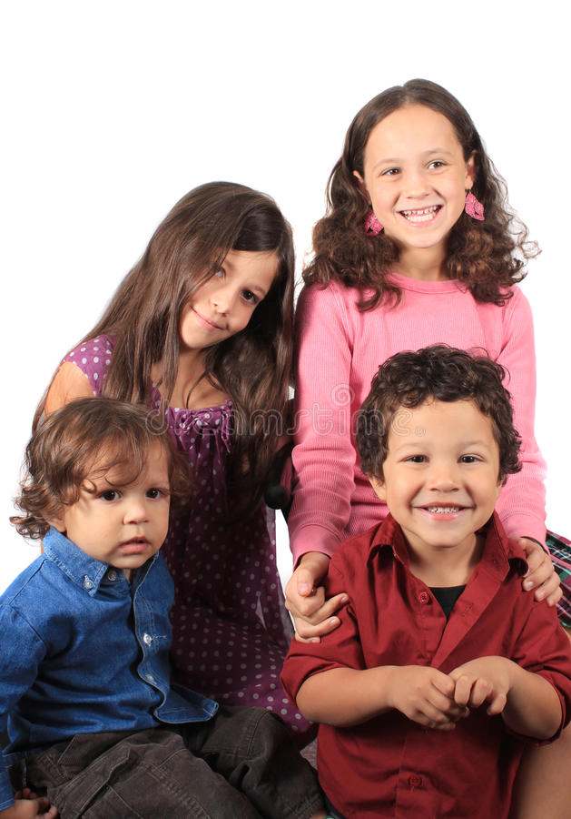 barn fyra barn arkivbild