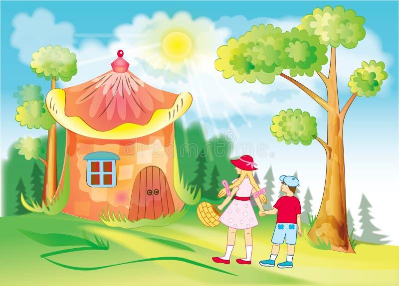 Barn går till och med den sagolika skogen stock illustrationer