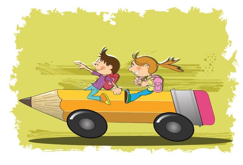 Barn går till skolan royaltyfri illustrationer