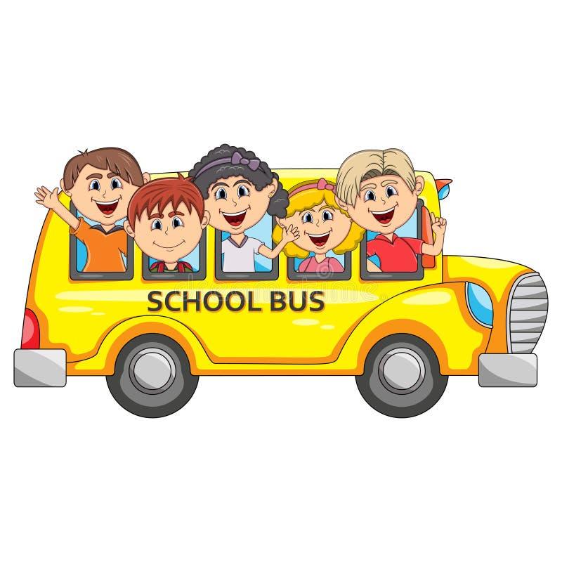 Barn går till skolan förbi busstecknade filmen vektor illustrationer