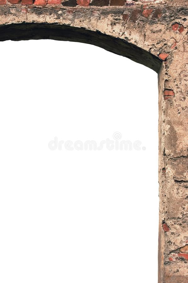 Barn gate door arch frame stone wall closeup, vertical isolated copy space, plastered grunge red brick stonewall pattern, old aged royalty free stock photo