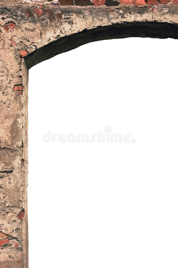Barn gate door arch frame stone wall closeup, vertical isolated copy space, plastered grunge red brick stonewall pattern, old aged stock image