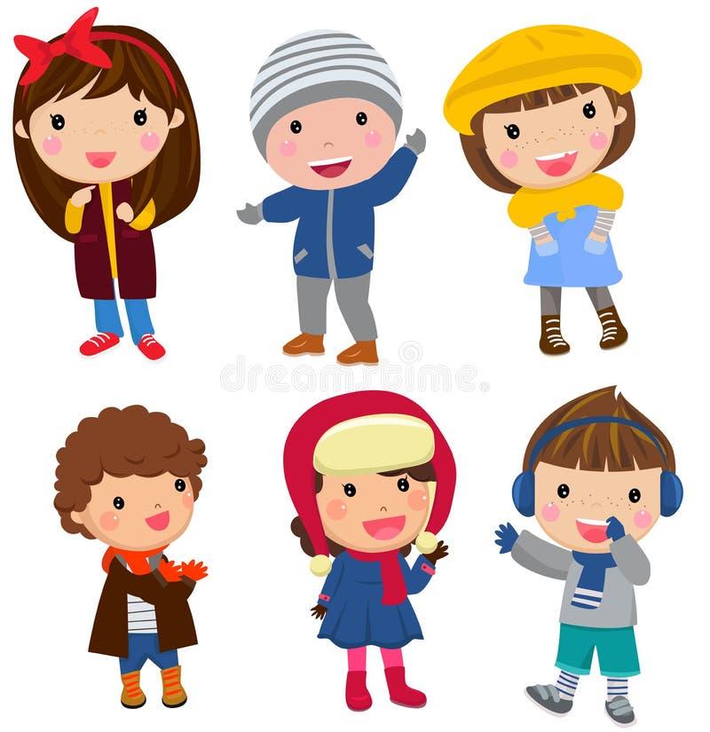 barn grupperar lyckligt royaltyfri illustrationer