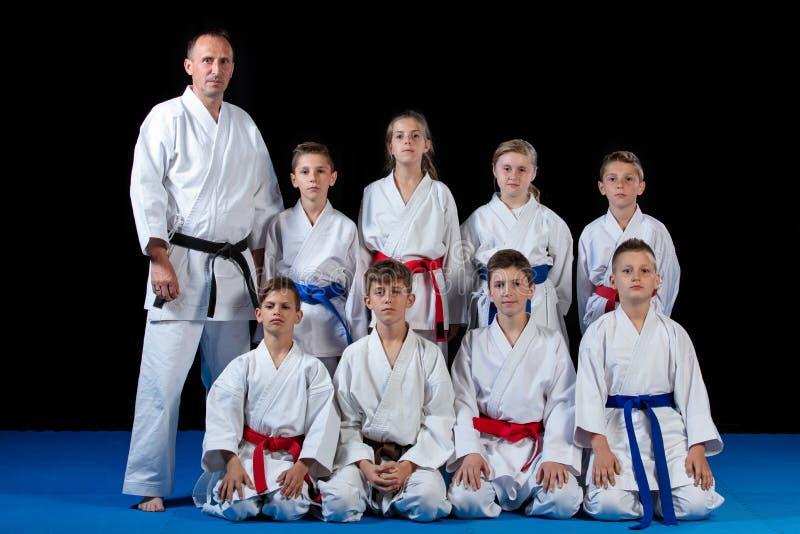 Barn härliga lyckade mång- etiska karateungar i karateposition royaltyfri fotografi