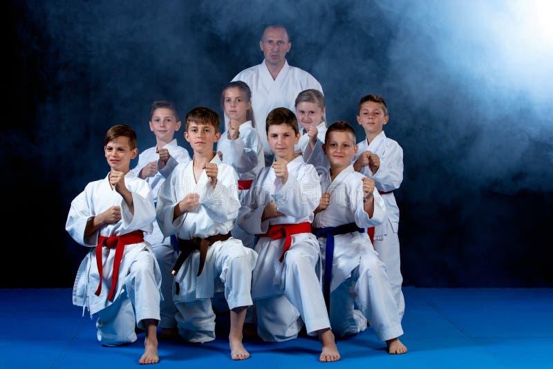 Barn härliga lyckade mång- etiska karateungar i karateposition royaltyfria bilder