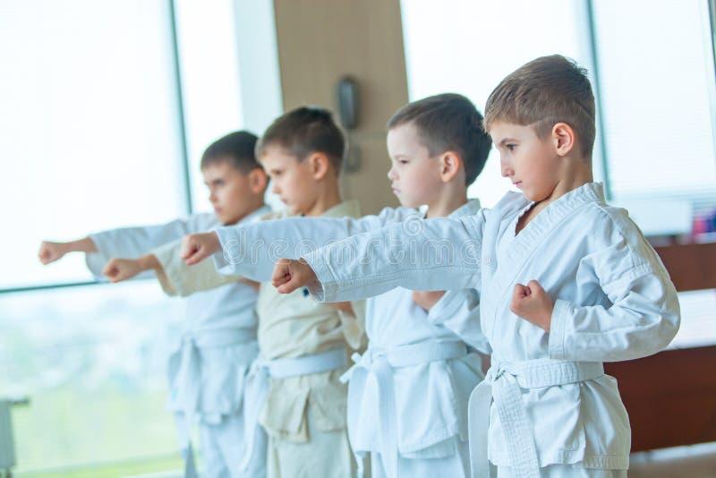 Barn härliga lyckade mång- etiska ungar i karateposition arkivfoton