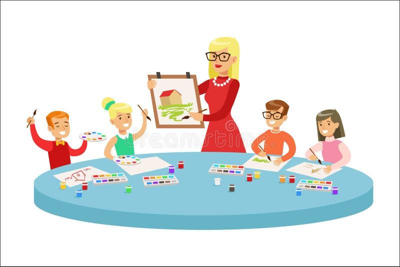 Barn i Art Class Two Cartoon Illustrations med grundskolaungar och deras Techer som in tillverkar och drar stock illustrationer