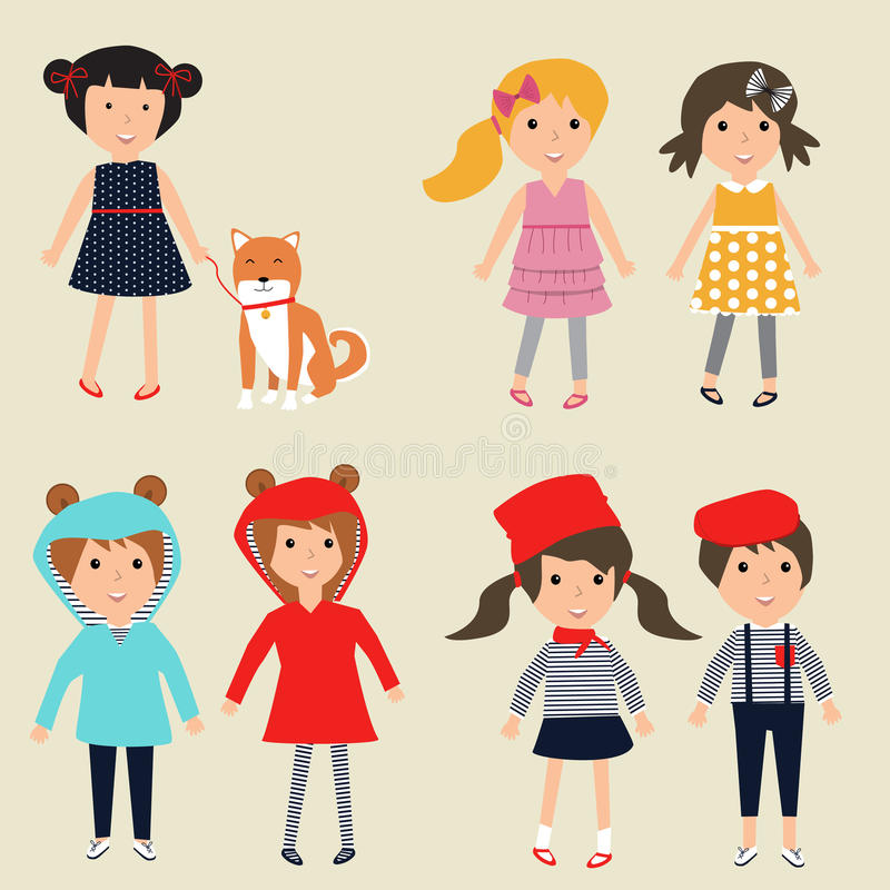 Barn i den gulliga dräkten med hundvektorn Illustration EPS 10 royaltyfri illustrationer