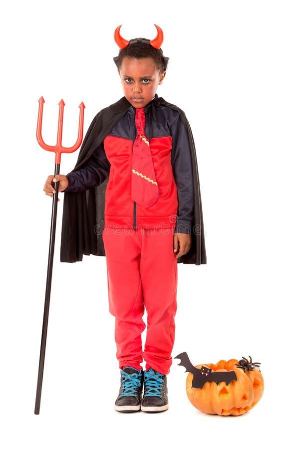 Barn i den halloween dräkten fotografering för bildbyråer