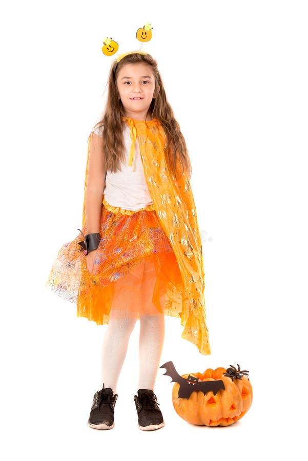 Barn i den halloween dr?kten arkivfoto