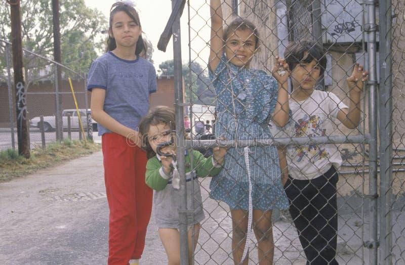 Barn i en Los Angeles getto arkivbild