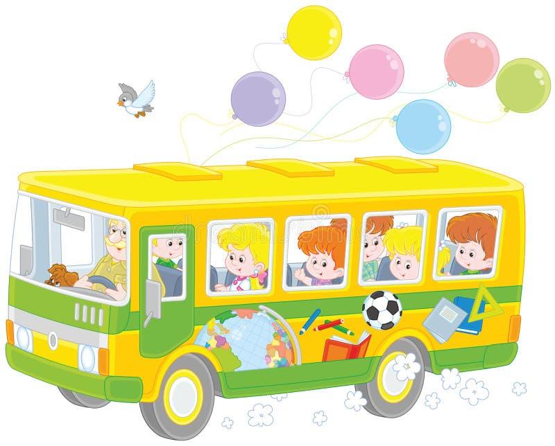 Barn i en skolbuss royaltyfri illustrationer