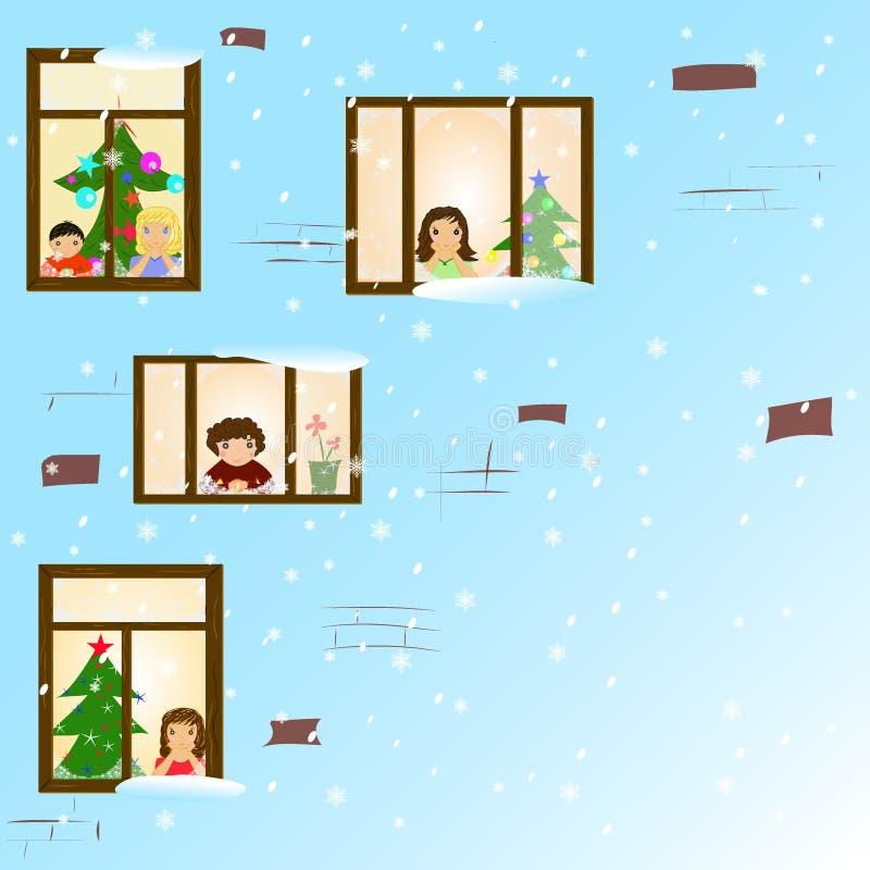 Barn i fönster stock illustrationer