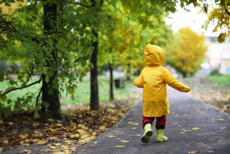 Barn i hösten parkerar går royaltyfri fotografi