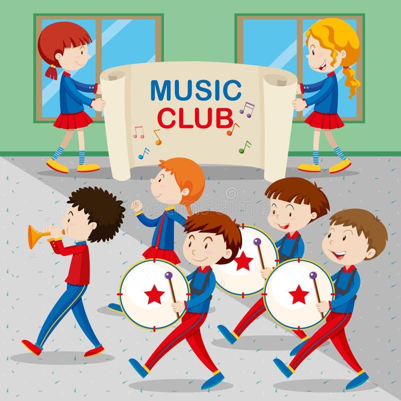 Barn i musikbandmarschen stock illustrationer