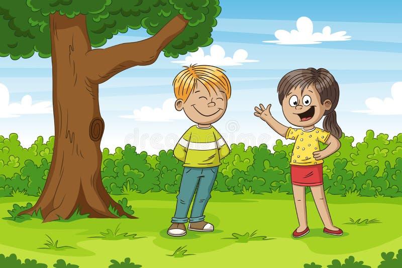 Barn i parken royaltyfri illustrationer