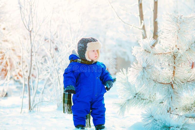 Barn i parkera med insnöad vinter arkivbild