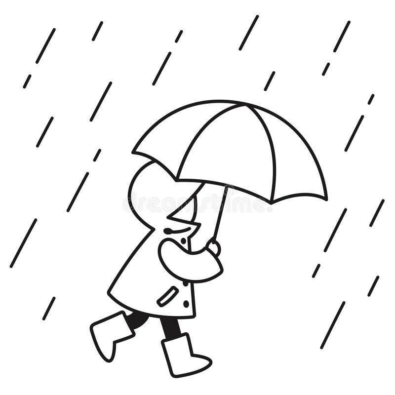 Barn i regnteckningen vektor illustrationer
