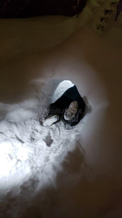 Barn i snöfort arkivbilder