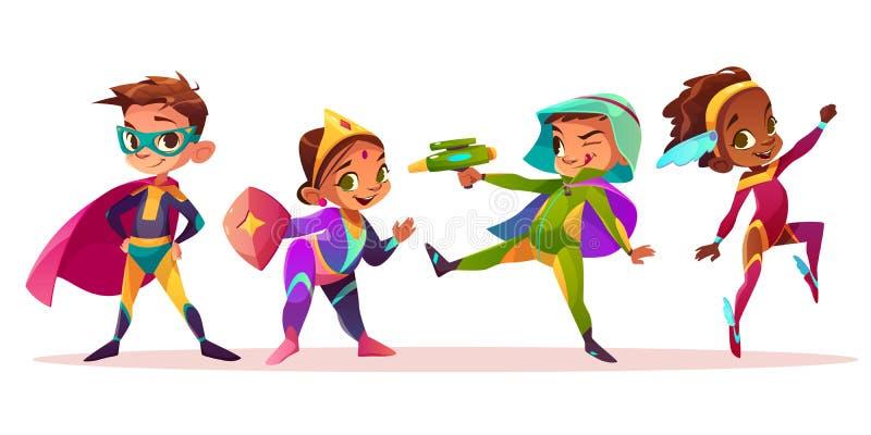 Barn i vektor för superherodräkttecknad film royaltyfri illustrationer