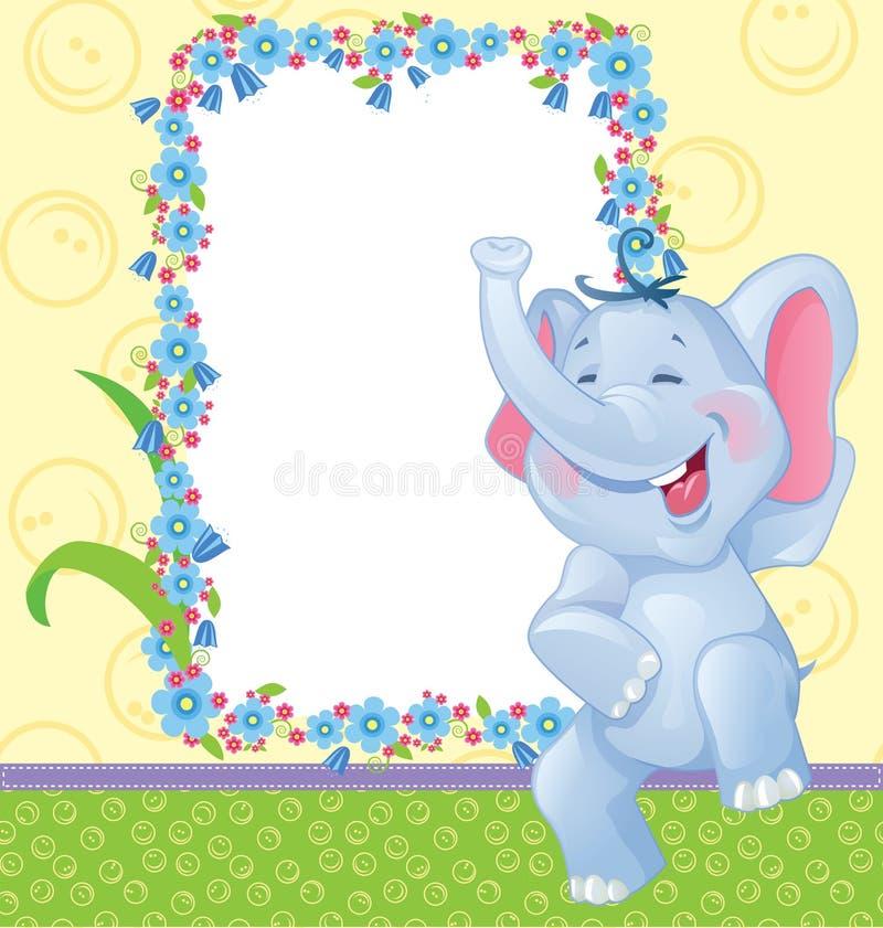 Barn inramar med elefanten stock illustrationer