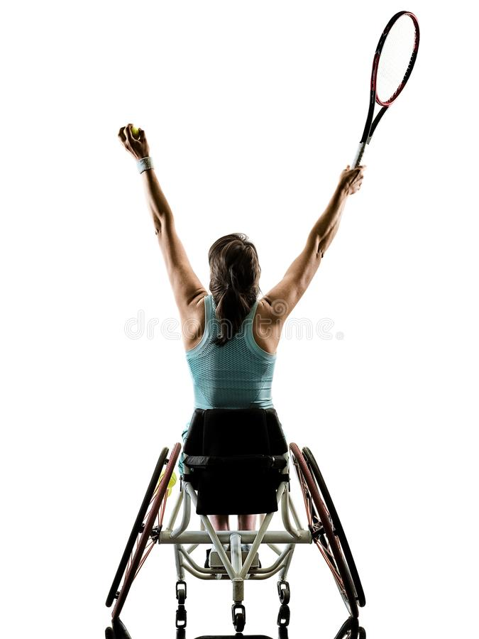 Barn isolerad handikapp sport för tennisspelarekvinnarullstol arkivfoton