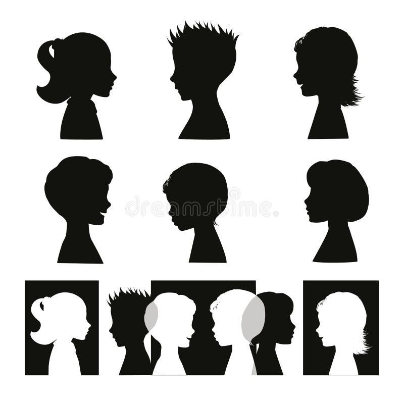 Barn. Isolerat silhouettes och baner stock illustrationer
