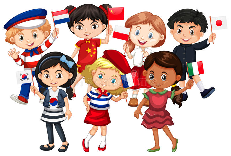 Barn kommer från olika länder vektor illustrationer
