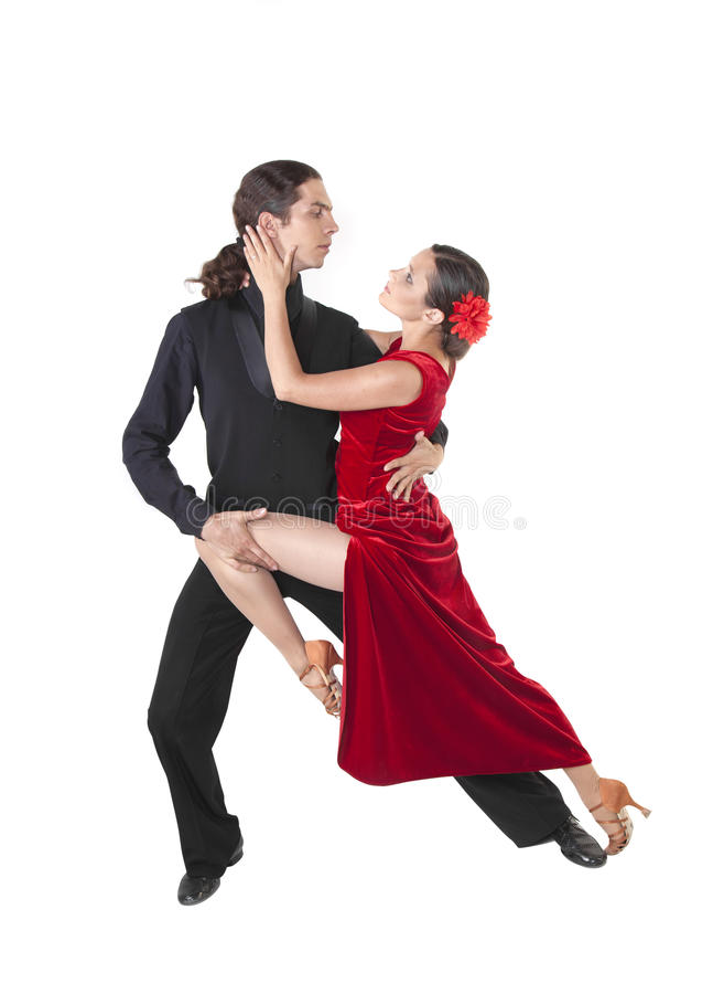 Barn kopplar ihop danstango royaltyfri foto