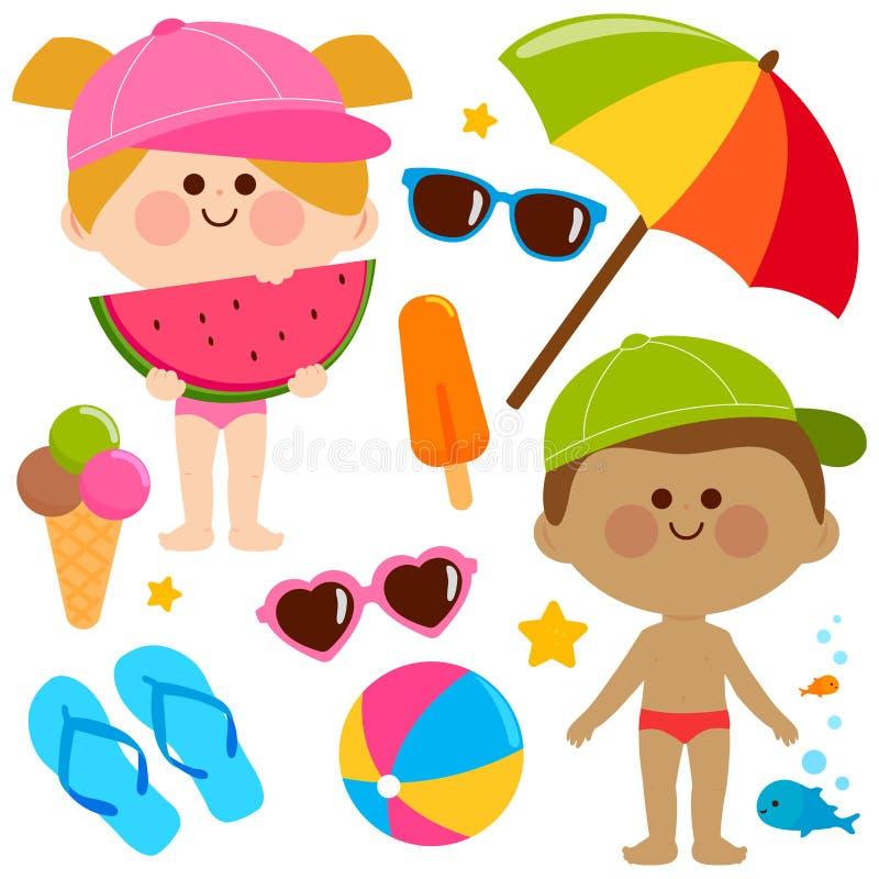 Barn med baddräkter och hattar Beståndsdelar för design för strandsommarsemester royaltyfri illustrationer