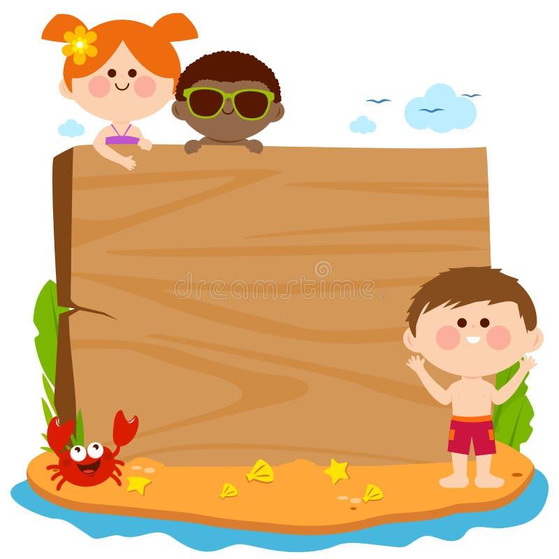Barn med baddräkter på en sommarö och ett tomt trätecken också vektor för coreldrawillustration vektor illustrationer